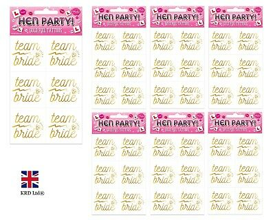 TEAM BRIDE TEMPORARY TATTOOS Tattoo Hen Night Tribe Holographic Squad Party UK
