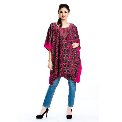 24ddc37740 Tunic Top Caftan Size Plus Kaftan Blouse Poncho Pink Womens Black Hippie  Dress
