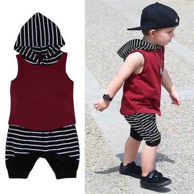 Infant Kids Baby Boy Hooded Vest Top+Short Pants Outfits Set Clothes 2Pcs 0-4Y