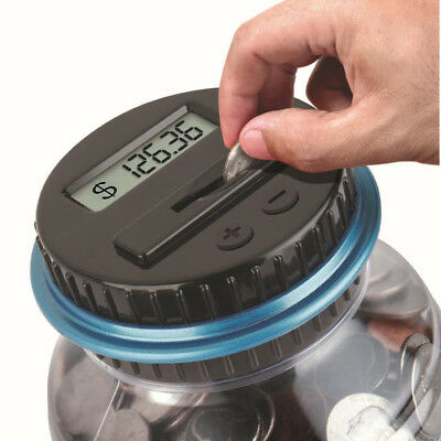Clear Digital Piggy Bank Coin Savings Counter LCD Counting Money Jar Change Tank