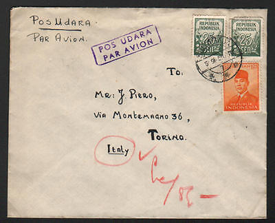 ZG-C711 INDONESIA - Cover, 1955, Air Mail To Italy