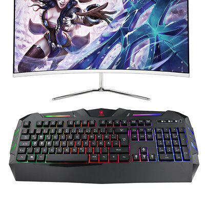 Metall Gaming Keyboard Tastatur Gamer USB Kabel für PC Wasserdicht Schwarz