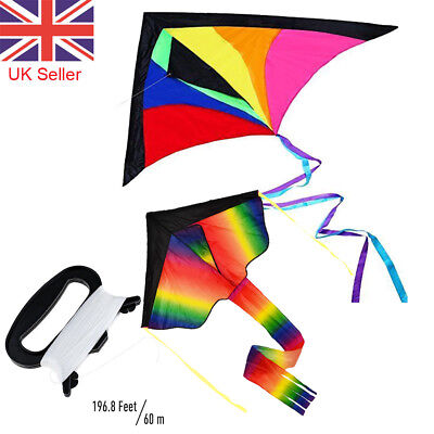 Rainbow Kite Colorful Large Outdoor Beach Summer Fun Holiday Children Adults UK