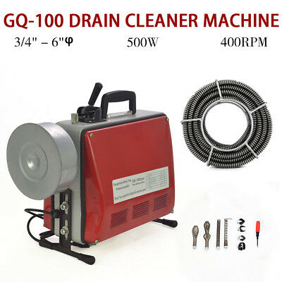 "Electric 3/4""-6""Ø Spiral Pipe Drain Cleaner Cleaning Machine Commercial Sewage"