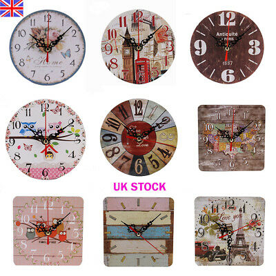 Vintage Rustic Wall Clock Home Decor Chic Wooden Shabby Antique Style Desk Clock