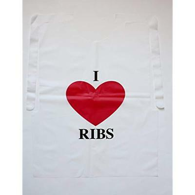 Disposable Apparel Case Of 500 Plastic I Love Ribs Bibs