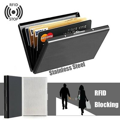 1PCS RFID Blocking Anti-scan Stainless Steel Credit Card Protector Wallet Holder