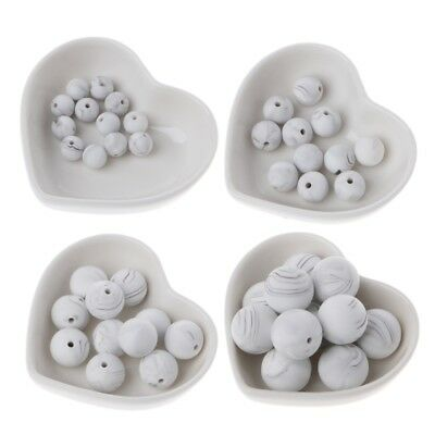 10pcs Silicone Marble White Teething Beads Baby Chewable Beads Teether Toys Diy
