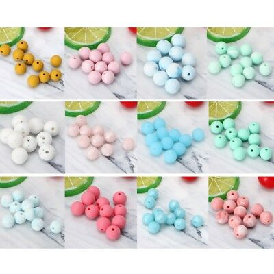 10Pcs Silicone Marble Round Baby Teether Bead Teethers Necklace Baby Care DIY