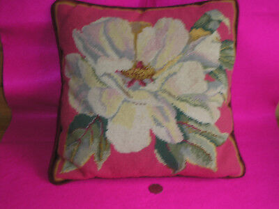 Vintage/antique Tapestry Cushion Flower/leaves Vetvet Back Pipping/zip Feather P
