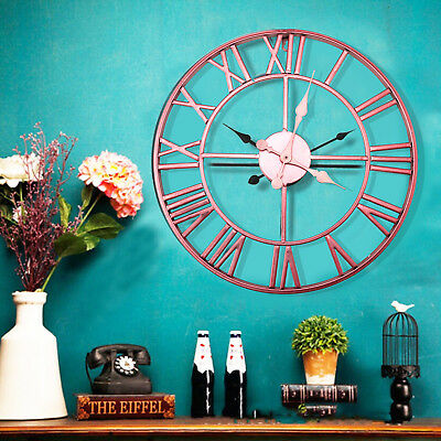 40cm Rose Face Metal Skeleton Wall Clock Roman Numerals Big Large uk