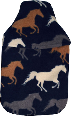 Cosy Soft Navy Fleece Wild Horses Design 2 Litre Hot Water Bottle & Cover
