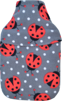 Cosy Soft Grey Fleece Ladybirds Polka Design 2 Litre Hot Water Bottle & Cover