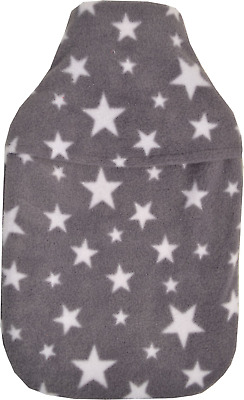 Cosy Soft Grey Fleece White Stars Design 2 Litre Hot Water Bottle & Cover