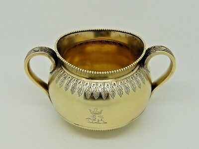 Antique Victorian Silver Gilt Sugar Bowl London 1864– George Fox SUPERB