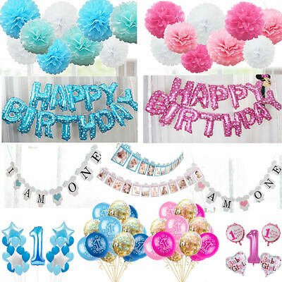 Baby Boy Gril Happy 1st Birthday Balloons Bunting Photo Props Pompoms Pink Blue