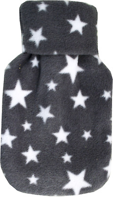 Cosy Fleece Mini 0.5 Litre Grey Stars Pattern Roll Neck Cover Hot Water Bottle