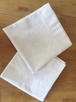 pair vintage cotton embroidered long pillow cases white longer bolster