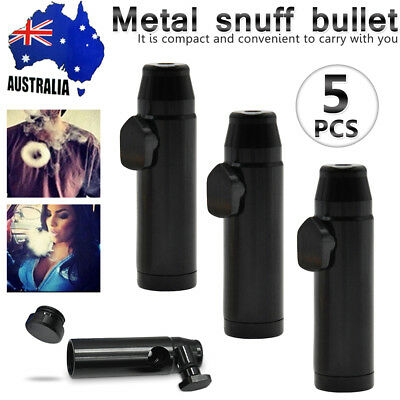 5x Metal Snuff Snuffer Sniff Mini Portable Bullet Rocket Box Tube Vial Dispenser