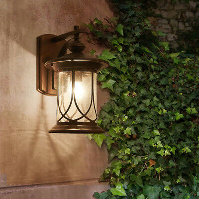 Country Style Black/Coffee Gold Lantern Glass Outdoor Wall Lights Sconces Garden