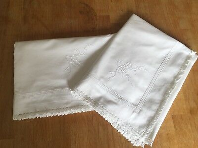 pair vintage cotton craft embroidered pillow cases white Oxford style