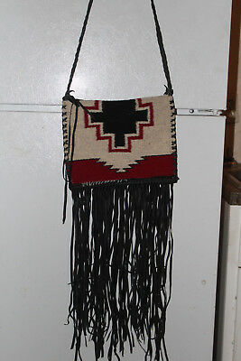 "NEW OLD STOCK-NAVAJO RUG PURSE By NAVAJO ARTIST PLUMMER-9"" X 11 1/2"" PLUS FRINGE"