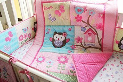 Pink Owl Bird 7pcs crib set Baby Bedding Set Crib Bedding Set Girl Boy Nursery