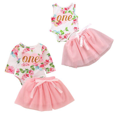 Baby Girls Floral One Year 1st Birthday Tutu Outfits Party Dress Photo Shoot