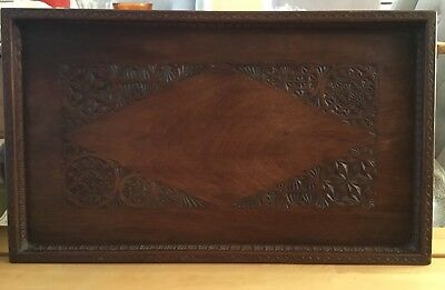Antique hand carved wooden tray serving with beautiful detailing In Wood