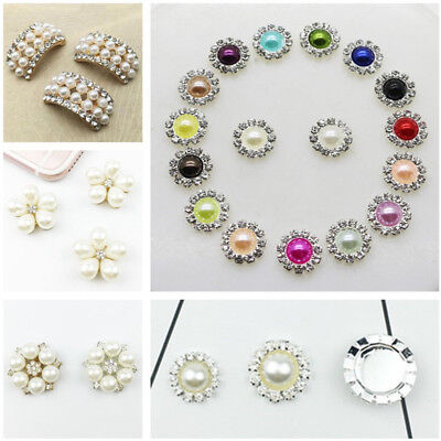 10pcs Rhinestone Crystal Faux Pearl Shank Buttons Sewing Craft Jewelry Accessory