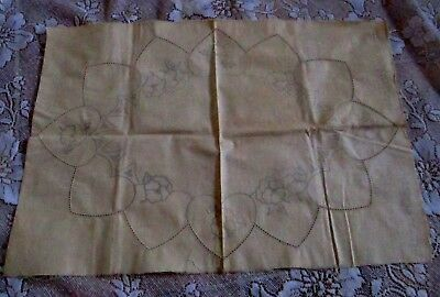 Vintage Wartime Production Doily/centrepiece No. L.s.215 - Traced Linen, Pansies
