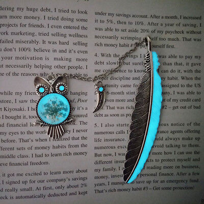 1X Luminous Night Owl Bookmark Label Reading Maker Feather Book Stationery Gift