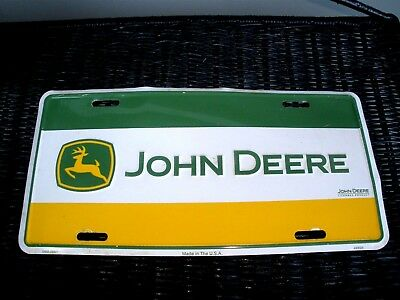 John Deere License Plate Truck Tractor Wall Decor Collectible Yellow Green white