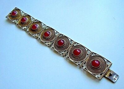 Rare old Russian BRACELET Filigree 84 SILVER with stones, FABERGE Design