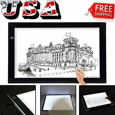 "19""/15"" A3/A4 LED Tracing Light Board Drawing Box Pad Table Stencil Display Art~"