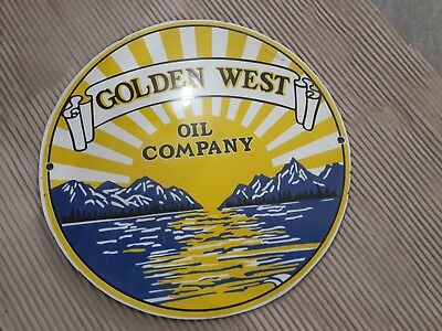 "Porcelain Sign  Golden West Enamel Sign Size 12"" ROUND"