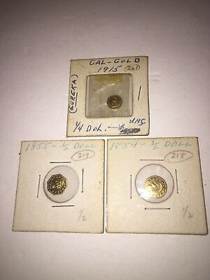 1855 Octagonal/1854 Round Cal Gold California Fractional 1/2 1/4 Dollar 1915 LOT