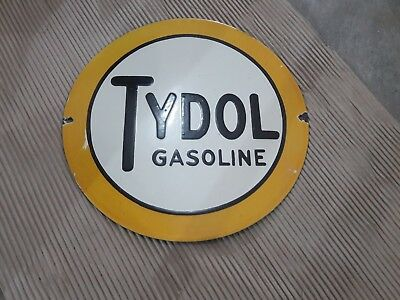 "Porcelain Sign TYDOL GASOLINE  Enamel Sign Size 12"" ROUND"
