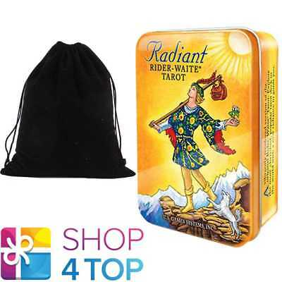 Radiant Raider-Waite Tarot Tin Box Deck Cards Esoteric Small With Velvet Bag New