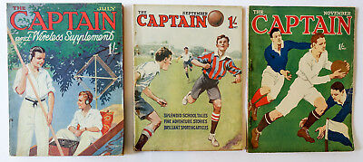 3 Vintage The Captain 1920s Magazine For Old Boys Wireless Aviation School Tales