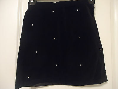 The Chilren's Place Size 8 Black Velour Skirt w/ Rhinestones on Front Lined