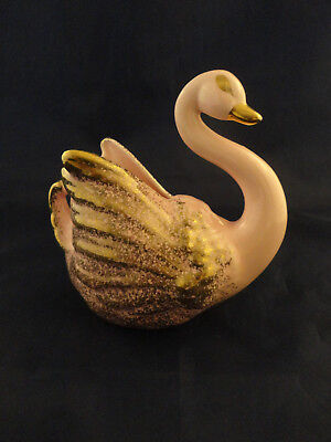 Vintage Lusterware Pink Swan Planter with Gold Accents - 1950s (57)