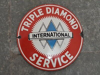 "Porcelain Sign TRIPLE DIAMOND Enamel Sign Size 6"" ROUND"