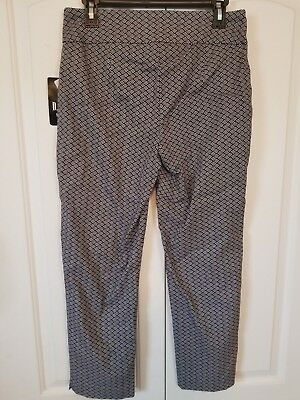 D.F.A. New York Petite Women's Pants NWT Black White Geometric Stretch 10P 12P