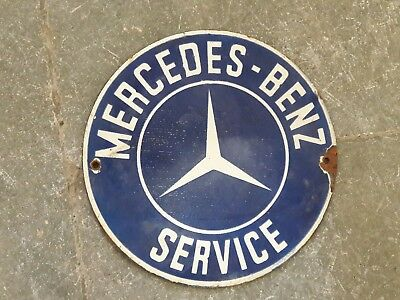 "Porcelain Sign MERCEDES-BENZ-SERVICE Enamel Sign Size 6"" ROUND"