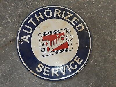 "Porcelain Sign BUICK SERVICE  Enamel Sign Size 6"" ROUND"
