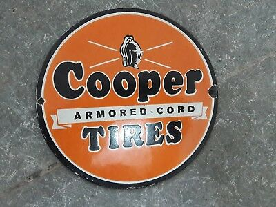 "Porcelain Sign COOPER TIRES  Enamel Sign Size 6"" ROUND"