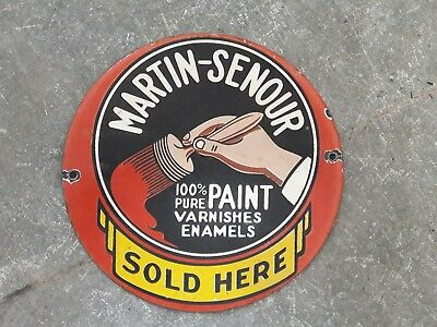 "Porcelain Sign MARTIN-SENOUR Enamel Sign Size 6"" ROUND"
