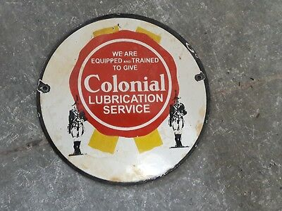 "Porcelain Sign COLONIAL LUBRICATION  Enamel Sign Size 6"" ROUND"