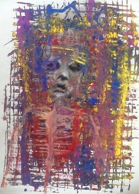 Pain Mixed Media Artwork On Paper Outsider Fine Art Signed